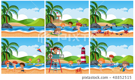 Set of children at beach scene 48852515