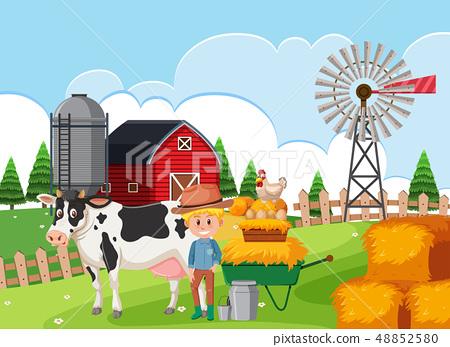 A farmer at farmland 48852580