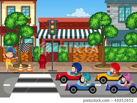 Car racing in town 48852652
