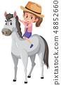 A girl riding horse 48852660