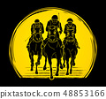 Horse racing Jockey riding horse graphic vector 48853166