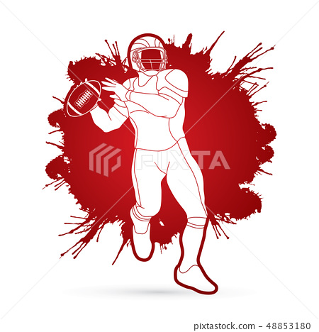 American football player, Sportsman action vector 48853180