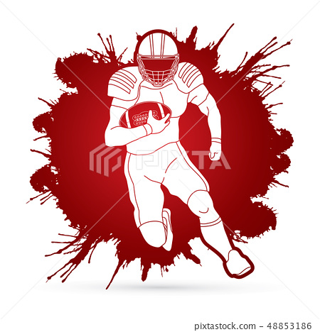 American football player, Sportsman action vector 48853186