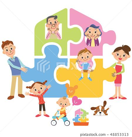 집을 만드는 세 가족 48853313