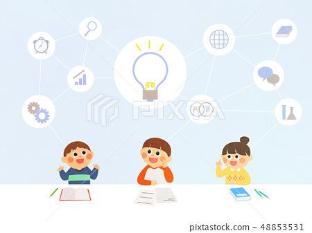 Vector illustration of future children's education with robot, VR and environment. 005 48853531