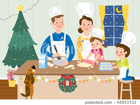 Vector illustration of happy family together in winter time. 005 48853532