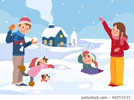 Vector illustration of happy family together in winter time. 012 48853535