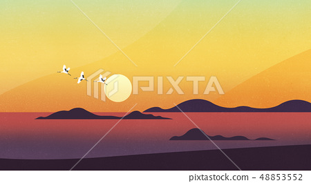 Vector - Natural landscape with Sun rise, beautiful scenery illustration. 008 48853552