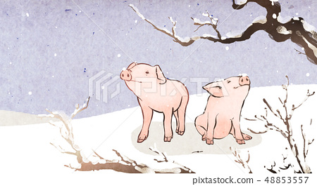 Vector - Watercolor hand drawn illustration of pig in the nature 012 48853557