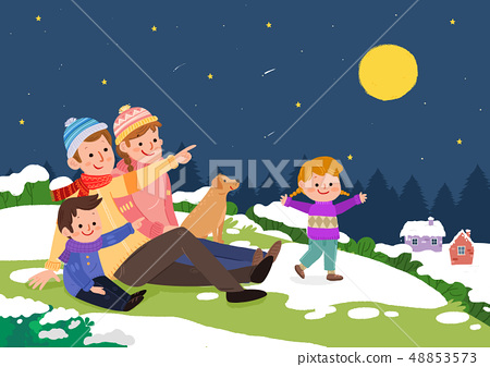 Vector illustration of happy family together in winter time. 009 48853573