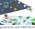 Vector illustration of future children's education with robot, VR and environment. 002 48853610