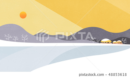 Vector - Natural landscape with Sun rise, beautiful scenery illustration. 004 48853618