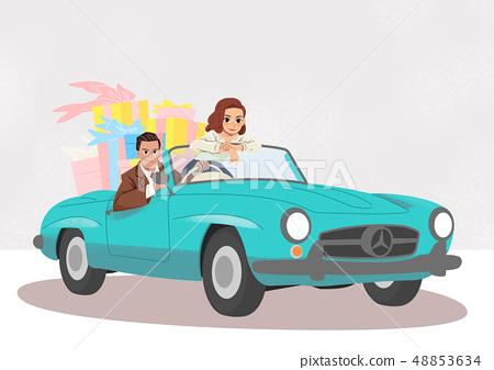 Vector - Couple shopping cartoon style illustration. 001 48853634