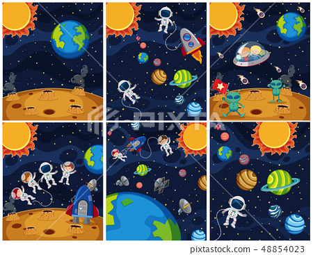 Set of space background 48854023