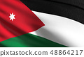 Jordan national flag blowing in the wind isolated. 48864217