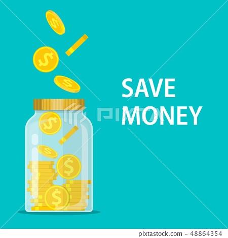Money Jar. Saving dollar coin in jar. 48864354