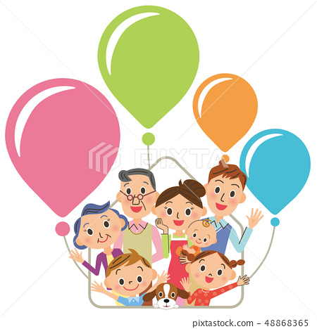 Three generation family house balloons 48868365