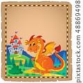 Dragon and castle theme parchment 4 48869498