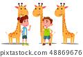 Ruler Baby Height Giraffe Vector. Boy, Girl. Isolated Flat Cartoon Illustration 48869676