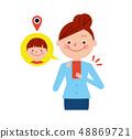 Woman smartphone child GPS illustration vector 48869721