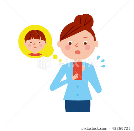 Woman smartphone kid worry illustration vector 48869723