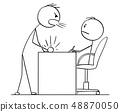 Cartoon of Man or Businessman Yelling at Boss or Clerk or Subordinate Sitting Behind Table 48870050
