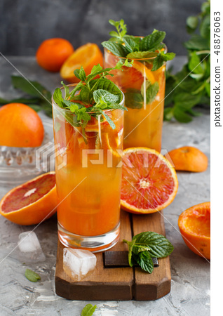 Homemade refreshing drink with bloody orange juice 48876063