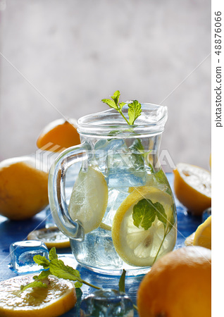 Homemade refreshing drink with lemon juice and 48876066