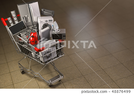 Household appliances in the shopping cart. 48876499