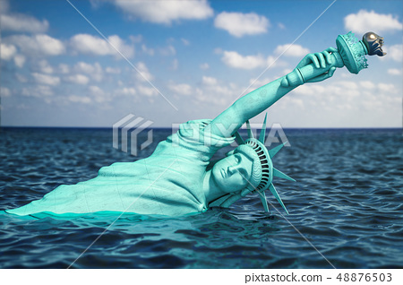 Destroyed Statue of liberty half covered by rising 48876503