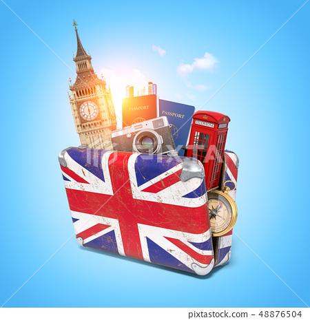 Trip to London, Great Britain.Vintage suiitcase 48876504