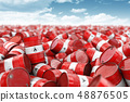 Red oil barrels. Oil and gas industry, storage, 48876505