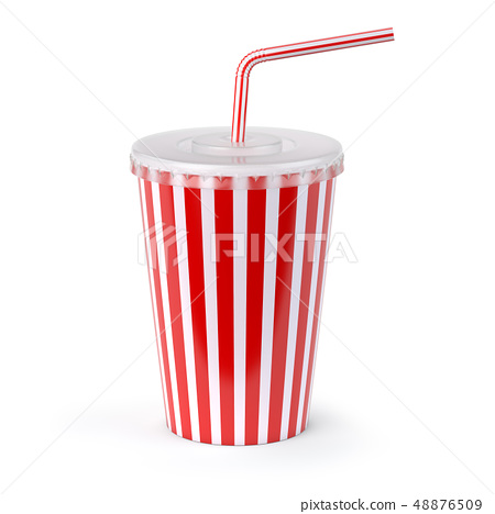 Red striped paper or plastic glass with  soda 48876509