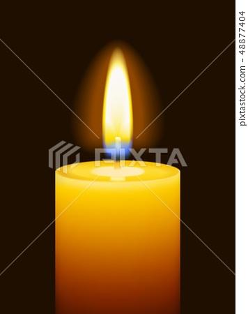 Realistic burning candle 48877404