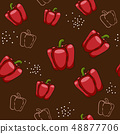 seamless pattern bell pepper vegetable food on brown background vector wallpaper textile giftwrap 48877706
