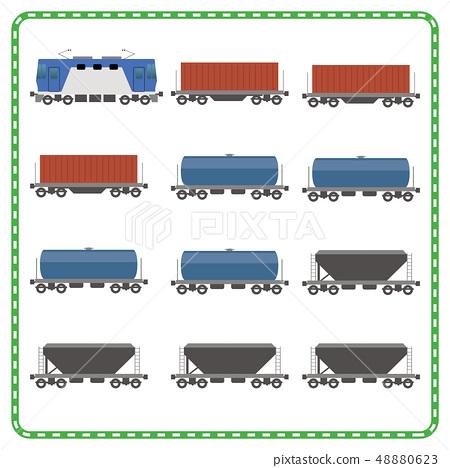 철도 · 전철 일러스트 아이콘 |화물 열차 JR화물, 컨테이너 운송 · 물류 | 벡터 데이터 48880623