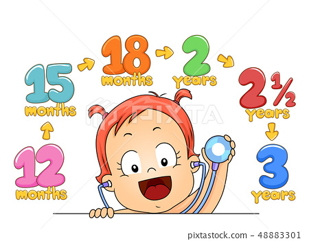 Kid Toddler Girl Check Up Age Illustration 48883301