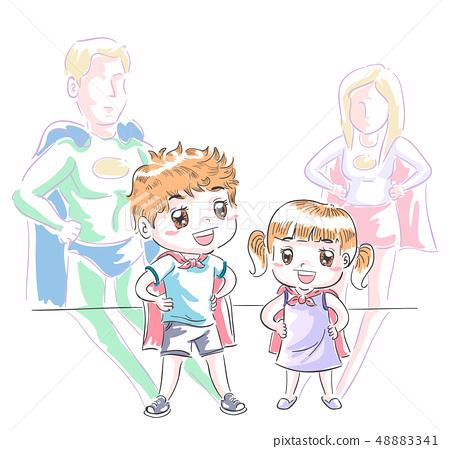 Kids Super Heroes Play Illustration 48883341