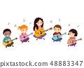 Stickman Kids Teacher Guitar Lesson Illustration 48883347
