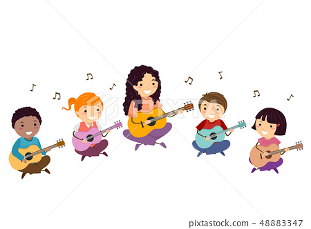 Stickman Kids Teacher Guitar Lesson Illustration 48883347