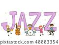 Stickman Kids Jazz Text Design Illustration 48883354