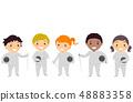 Stickman Kids Fencing Outfit Illustration 48883358
