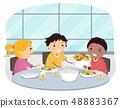 Stickman Kids Ask Pass Food Politely Illustration 48883367