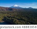 Aerial view of Mount Fuji and Aokigahara Jukai from Lake West Lake 48883858