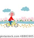 해안 빌딩과 자전거를 타고 할머니 48883905