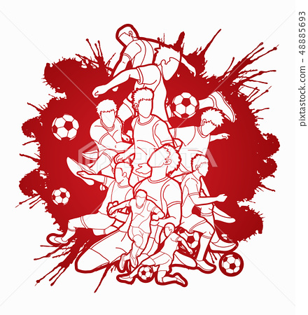 Soccer player team composition illustration vector 48885693