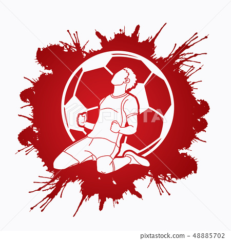 Soccer player the winner action graphic vector 48885702