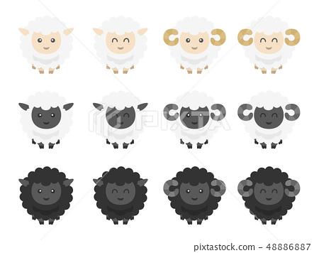 綿羊例證集合 48886887