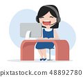 Call Center Operator girl working in office 48892780