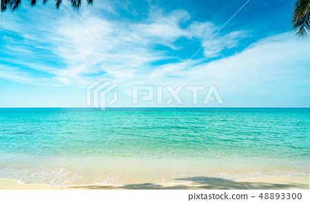 Sand beach by the sea with emerald green water 48893300